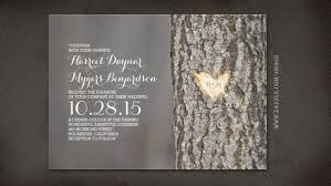 Read More CARVED HEART TREE RUSTIC WEDDING INVITES