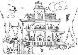 Incredible In Addition To Stunning Haunted House Coloring Page