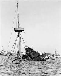 Pictures Of The Uss Maine Sinking by American War Uss Maine Wreckage In Cuba Photo Print For Sale