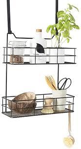lifa living türregal zum einhängen hängekorb für bad und küche 2 ablagen hängeregal für küche und bad schwarz metall 35 b x 15 t x 40 h cm