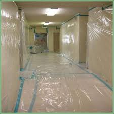 containment set up for asbestos acoustic popcorn ceiling removal