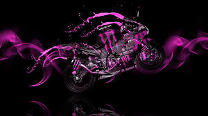 Monster Energy Moto Kawasaki Side Pink Neon Live