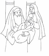 Simeon Anna With Baby Jesus Coloring Page
