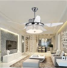 Dining Room Fan Chandelier Modern Crystal Ceiling Lights Restaurant Household Electric