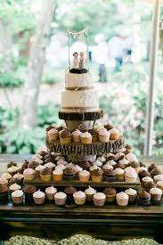 Rustic Country Wedding Cupcake With Tree Stump Stand