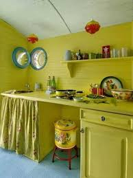 Yellow Green Kitchen Cabinets And Walls In Vintage Style