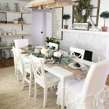 Farmhouse Dining Room Fall Decor Ideas Sherwin Williams Pure White SW 7005 Paint Color Painted Brick