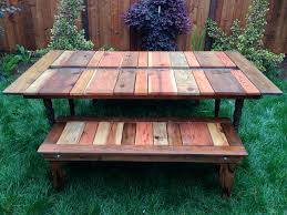 reclaimed wood flat pack picnic table with planter ice trough 11