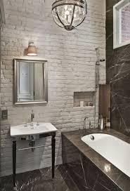 Interior Brick Walls Rustic White Tile Adorning The Stylish Bathroom