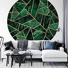 fototapete vliestapete rund fredriksson dunkelgrüner smaragd moderne illustration grün gold geometrisch abstrakt formen dreiecke inkl schablone