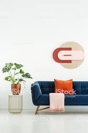 pflanzen sie auf tisch neben blauen sofa mit roten kissen in weiß wohnzimmer interieur mit poster echtes foto stockfoto und mehr bilder blau