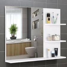 kleankin badspiegel mit 3 ablagen wandspiegel spiegelregal badezimmer mdf weiß 60 x 10 x 48 cm