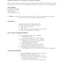 Sample Resumes For Students In College Student Example Of Resume No Work Experience