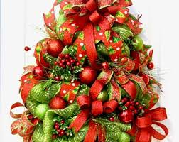 Christmas Wreaths For Front Door Tree Wreath Hanger Deco Mesh Holiday Red Lime