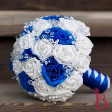 Blue And Silver Wedding Bouquets Gold Accented White Bouquet With Tulle The Winter