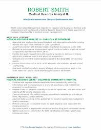 Medical Records Analyst II Resume Model