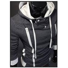 pull sweat a col montant homme fashion gris fonce