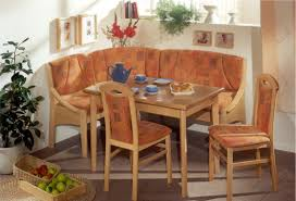 Modern Kitchen Booth Ideas by Corner Light Brown Wooden Bench With Orange Fabric Seat And Back