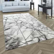 teppich wohnzimmer kurzflor moderne marmor optik geometrisch grau silber grösse 120x170 cm