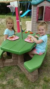 step2 naturally playful picnic table with umbrella stone and wood