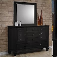 trendy dark black wood bedroom dresser with glass doors and