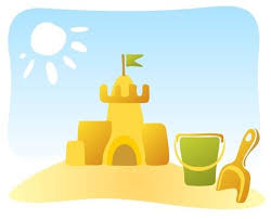 Ornate Sand Castle And Beach Toys On A Sky Background