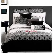 Art Deco Bedroom Design with Queen Size Black White Floral Bedding