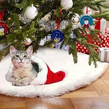Aytai 48 Inches White Faux Fur Christmas Tree Skirt Luxury Soft Snow Skirts For Xmas
