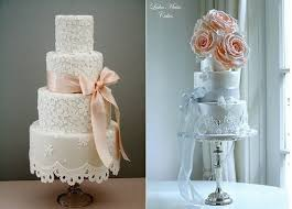 Peach Wedding Cakes With Lace By Cotton And Crumbs Left Leslea Matsis Right