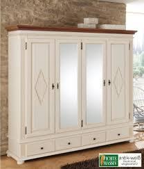 kleiderschrank schlafzimmer spiegel dielenschrank zugspitz 4 türig fichte massiv weiß landhaus