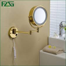 golden brass led light makeup mirrors 8 5 dual sides