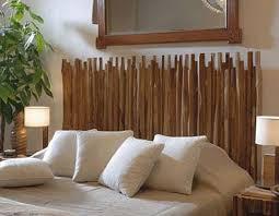 die kopfteil aus holzstäben für coole schlafzimmer deko mit
