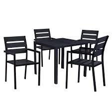 Amazon.com: Oakland Living AZ911-701(4)-BK Modern Outdoor Dining Set ... Cult Living Ladbroke Outdoor Ding Armchair Black Polywood Tek Memoir Chair Rjid Midcentury Modern Steel Patio Set Summer Classics Skye Side White Leather Chairs Contemporary Script 5piece Metal With Slatted Faux Wood And Stackable Modway On Sale Eei2259slvblk Shore Alinum Only Only 16930 At Fniture Warehouse Polywood Bayline Satin Allweather Plasticsling Arm In Poolside Shell Shell Collection Fueradentro Design Wicker