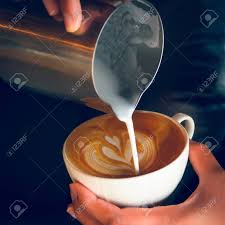How To Make Latte Art Coffee By Barista Stock Photo