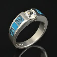 Turquoise Engagement Ring or Wedding Ring with White Sapphire Center