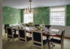 Black Leather French Dining Chairs With Green Chinoiserie Wallpaper