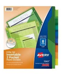 Staples File Cabinet Dividers by Avery Big Tab Two Pocket Insertable Plastic Divider 8 Tabs Set
