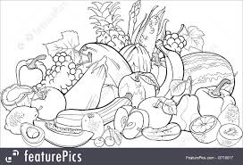 Food Black And White Cartoon Illustration Of Fruits Vegetables Big Group Design For