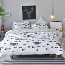 Christmas White Fish Pattern Duvet Cover Set 100 Cotton Bedding Sets Twin Queen King Size Quilt