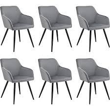 polsterstuhl tarje 6er set samt und bequeme sitzfläche esszimmerstühle grau artlife