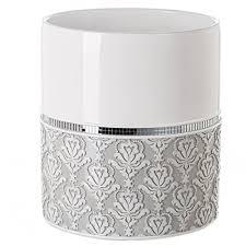 creative scents badezimmer mülleimer verspiegelt damast dekorativer abfalleimer design platzsparend grau weiß