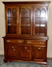 vintage colonial furniture cherry china cabinet hutch with lights