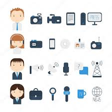 Set Of Flat Colorful Vector Journalism Icons Mass Media Communication Illustration Consists Computer News Reporter Camera Microphone Radio