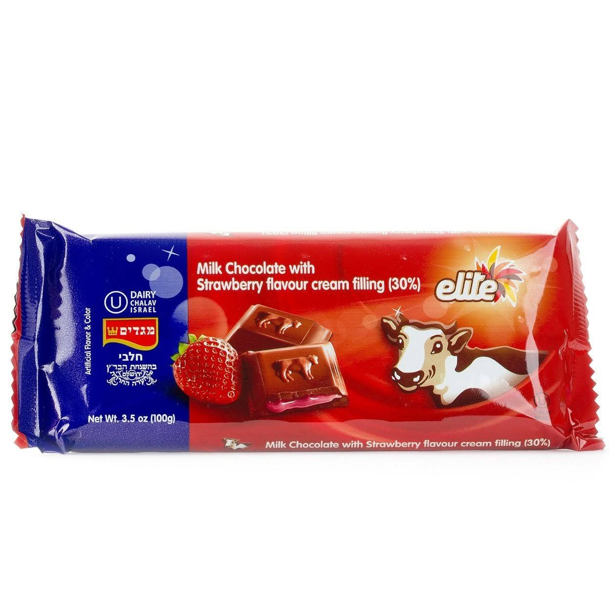 Elite Milk Chocolate Filled with Strawberry Flavored Cream 3.5 oz