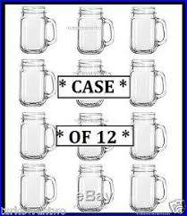 12 Mason Jar Style Glass Mug Set Handle Drinking Glasses Rustic Bridal Wedding