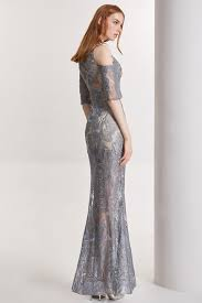 32090 coniefox new off shoulder half sleeves grey embroidery prom