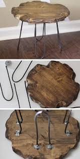 Upcycledtreasures Rustic Stool With Hairpin Legs