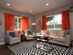 mesmerizing living room in chevron accent featuring orange sheer