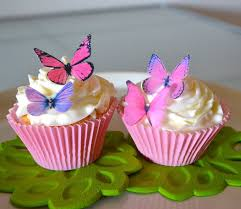 Amazon Edible Butterflies© Small Assorted Pink and Purple Set of 24 Cake and Cupcake Toppers Decoration Kitchen & Dining