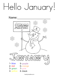 Hello January Coloring Page